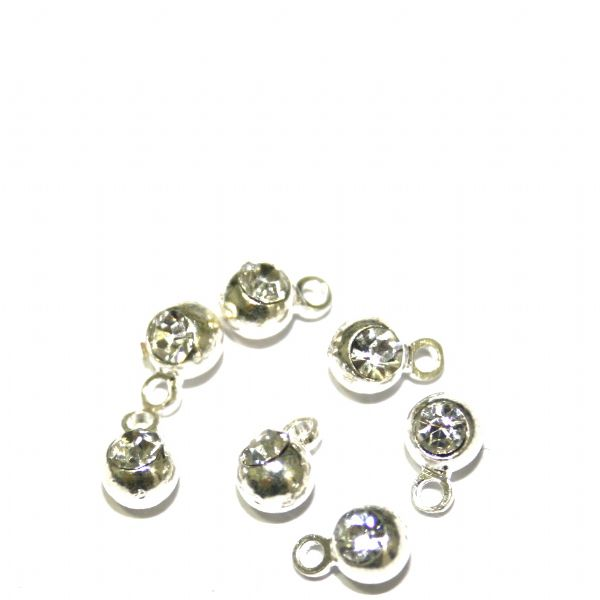 15pcs x 4mm silver plated ball charm - S.F08 - WC044 - 2002076